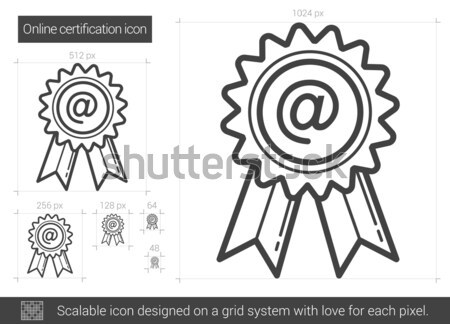 Díj felirat vonal ikon sarkok háló Stock fotó © RAStudio