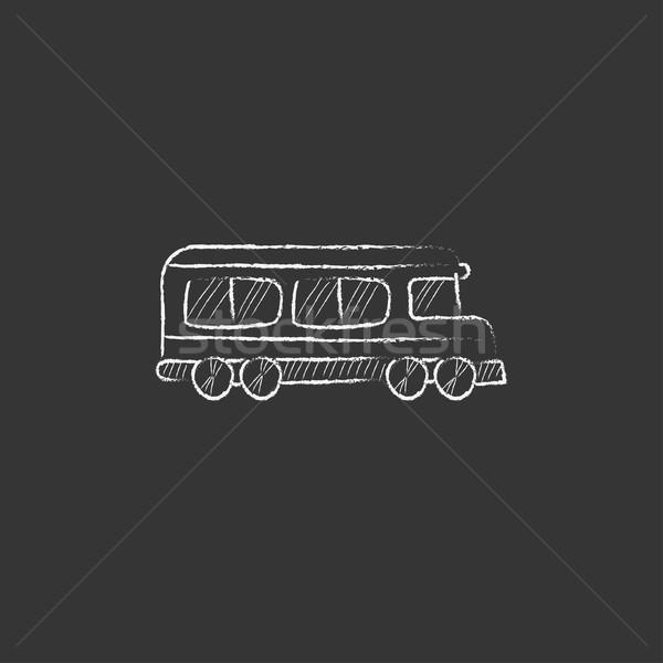 Schoolbus krijt icon vector Stockfoto © RAStudio