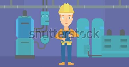 Cheerful repairer with spanner. Stock photo © RAStudio