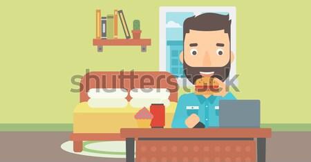 человека еды гамбургер борода рабочих Сток-фото © RAStudio