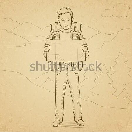 Vrolijk backpacker verrekijker man rugzak wandelen Stockfoto © RAStudio
