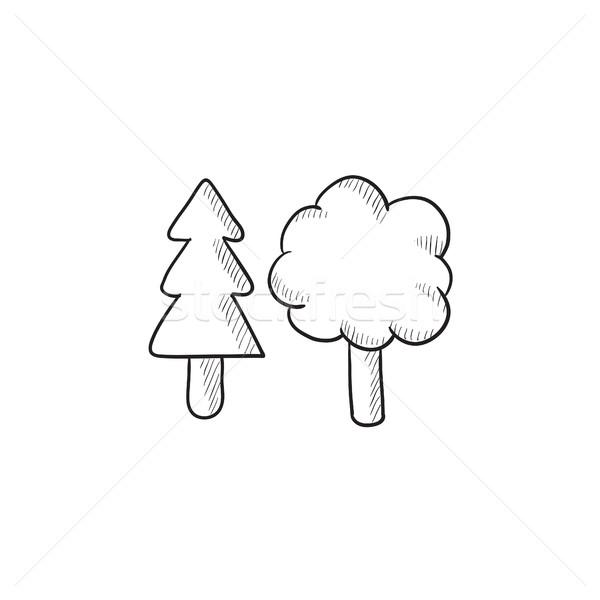árvores esboço ícone vetor isolado Foto stock © RAStudio