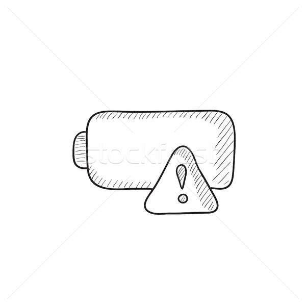Vazio bateria esboço ícone vetor isolado Foto stock © RAStudio