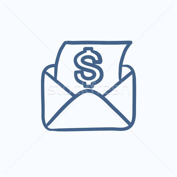 конверт почты знак доллара эскиз икона вектора Сток-фото © RAStudio