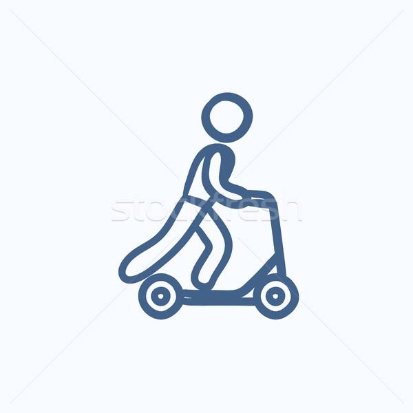 Férfi lovaglás rúgás moped rajz ikon Stock fotó © RAStudio