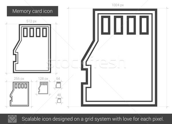 Memoria tarjeta línea icono vector aislado Foto stock © RAStudio