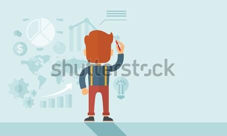 Bemutató stratégia komoly kaukázusi hipszter üzletember Stock fotó © RAStudio