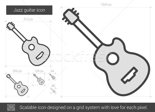 джаза гитаре линия икона вектора изолированный Сток-фото © RAStudio