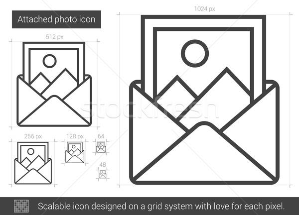 Bevestigd foto lijn icon vector geïsoleerd Stockfoto © RAStudio