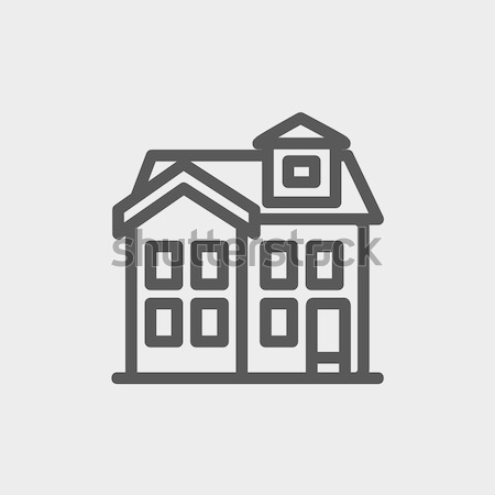 Stock photo: Two storey detached house sketch icon.