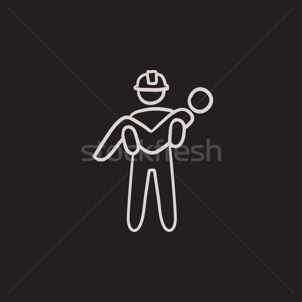 Fireman holding person on hands sketch icon. Stock photo © RAStudio