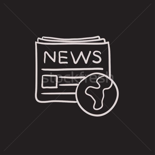 国際 新聞 スケッチ アイコン ベクトル 孤立した ストックフォト © RAStudio