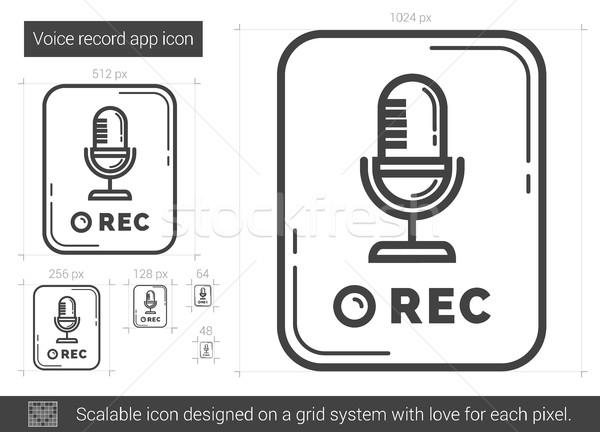 Voix record app ligne icône vecteur Photo stock © RAStudio