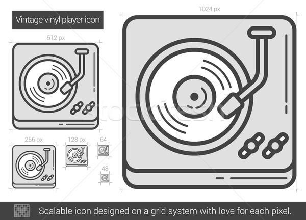 Vintage vinyl speler lijn icon vector Stockfoto © RAStudio