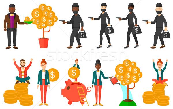 Vektor szett illusztrációk üzletemberek üzletember befektetés Stock fotó © RAStudio