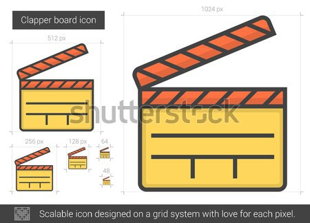 Clapper board line icon. Stock photo © RAStudio