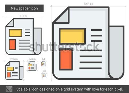 újság vonal ikon vektor izolált fehér Stock fotó © RAStudio