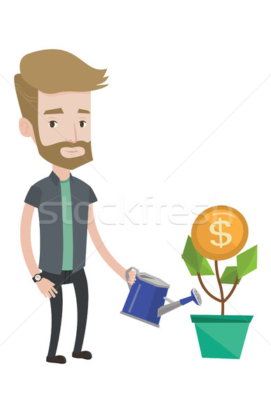Man watering money flower vector illustration. Stock photo © RAStudio