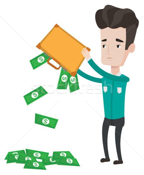 Uit geld aktetas depressief kaukasisch Stockfoto © RAStudio