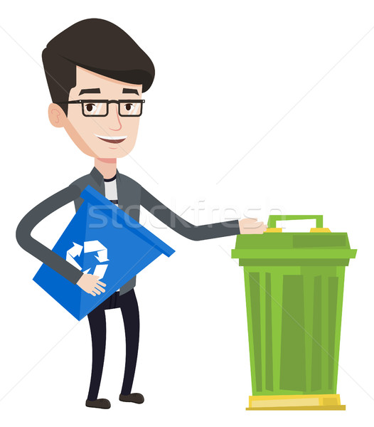 Man with recycle bin and trash can. Stock photo © RAStudio