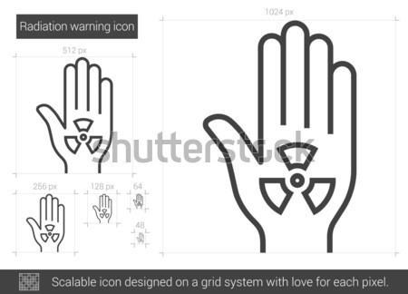 Promieniowanie ostrzeżenie line ikona wektora odizolowany Zdjęcia stock © RAStudio