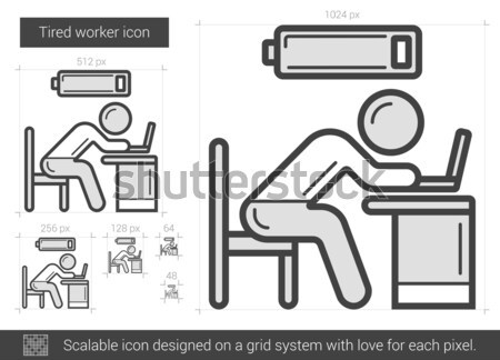 Tired worker line icon. Stock photo © RAStudio