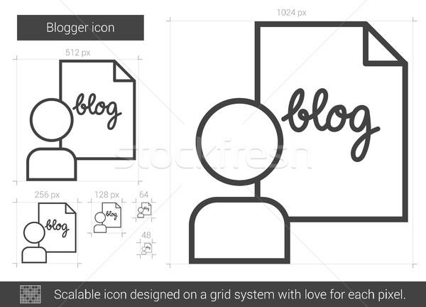 Blogger vonal ikon vektor izolált fehér Stock fotó © RAStudio