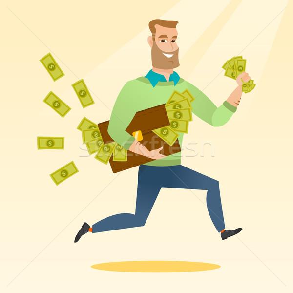 Zakenvrouw aktetas vol geld kaukasisch zakenman Stockfoto © RAStudio