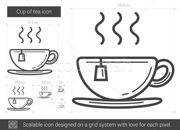 Csésze tea vonal ikon vektor izolált Stock fotó © RAStudio