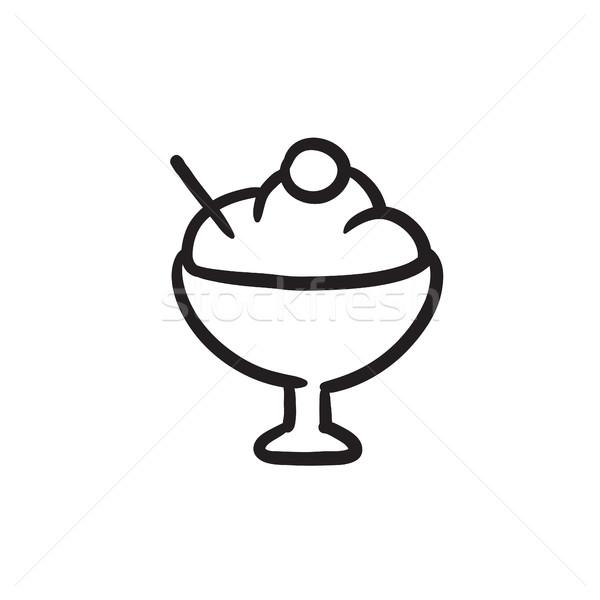Cup of ice cream sketch icon. Stock photo © RAStudio