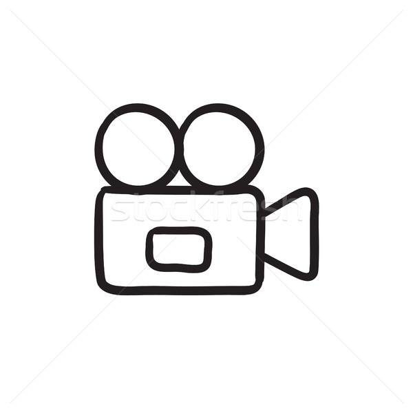 Photo stock: Caméra · vidéo · croquis · icône · vecteur · isolé · dessinés · à · la · main