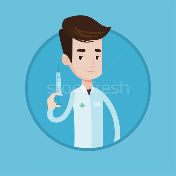 Doctor holding syringe vector illustration. Stock photo © RAStudio