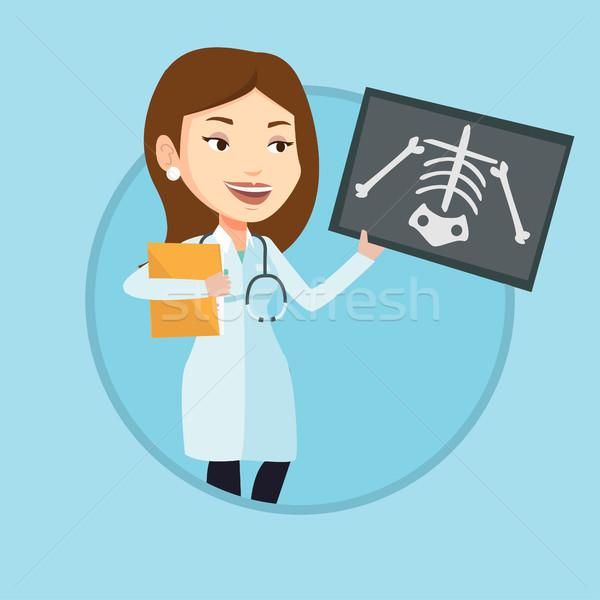 Stock photo: Doctor examining radiograph vector illustration.