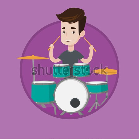 Stock photo: Man playing on drum kit vector illustration.