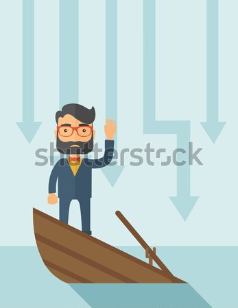 Business man standing in sinking boat. Stock photo © RAStudio