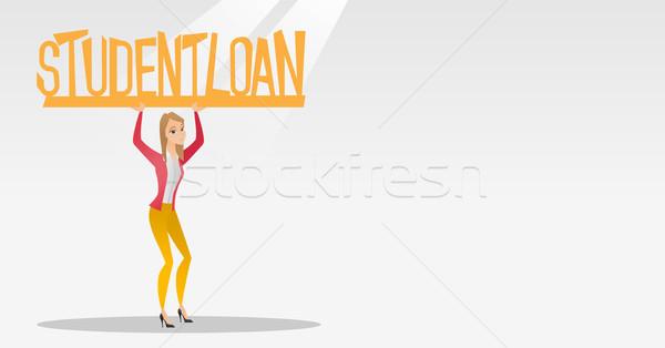 Vrouw teken student lening kaukasisch Stockfoto © RAStudio