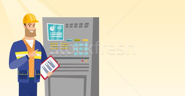エンジニア 立って コントロールパネル 白人 クリップボード 男 ストックフォト © RAStudio