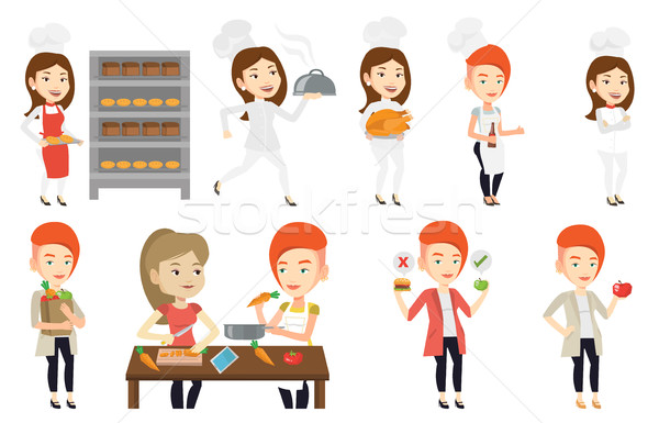 Stock photo: Vector set of people eating and drinking.