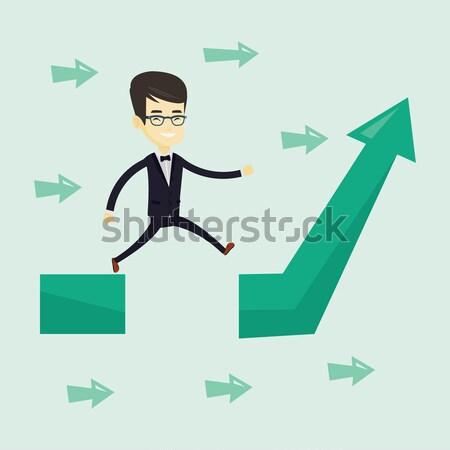 Mulher de negócios saltando lacuna seta para cima empresária Foto stock © RAStudio