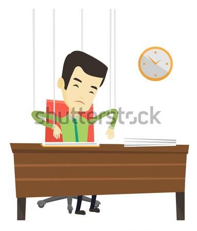 üzletasszony marionett kötelek dolgozik üzletasszony akasztás Stock fotó © RAStudio