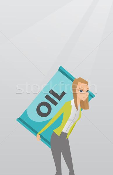 Nő hordoz olaj hordó kaukázusi munkás Stock fotó © RAStudio