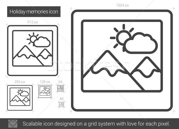 ünnep emlékek vonal ikon vektor izolált Stock fotó © RAStudio