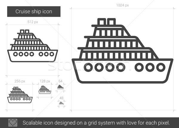 Cruiseschip lijn icon vector geïsoleerd witte Stockfoto © RAStudio