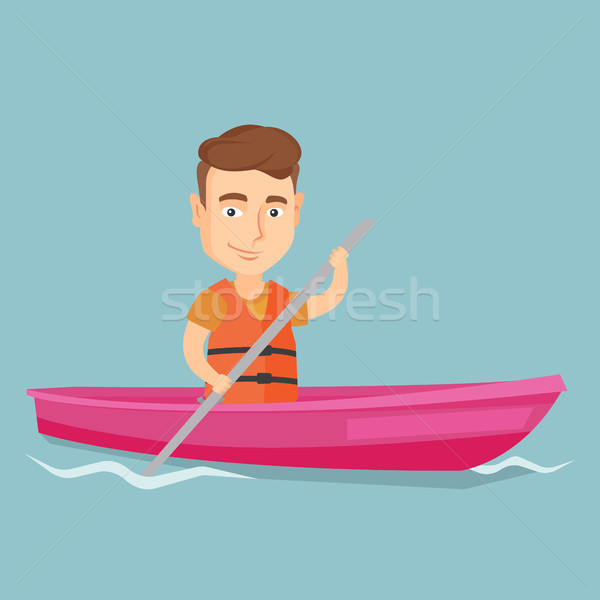 スポーツマン ライディング カヤック 小さな 白人 旅人 ストックフォト © RAStudio