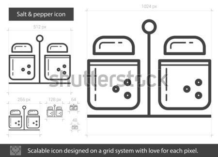 Stockfoto: Zout · peper · lijn · icon · vector · geïsoleerd