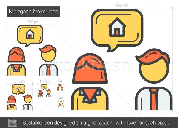 ипотечный брокер линия икона вектора изолированный Сток-фото © RAStudio