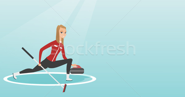 Sportswoman playing curling on a skating rink. Stock photo © RAStudio