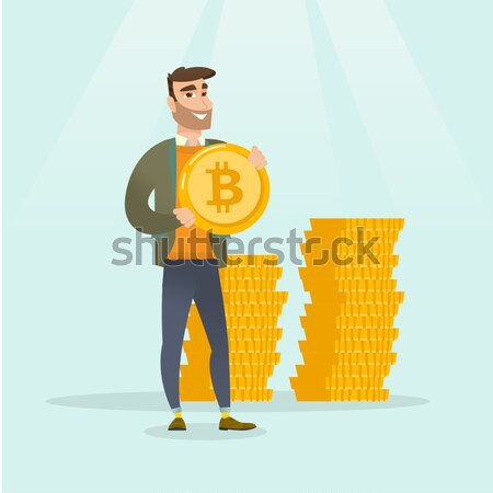 Stock photo: Caucasian business man holding a money bag.