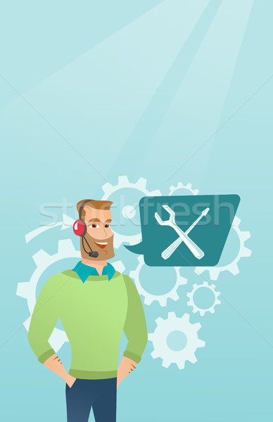 Jonge kaukasisch technische ondersteuning exploitant Stockfoto © RAStudio