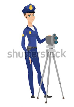 Policeman with radar for traffic speed control. Stock photo © RAStudio